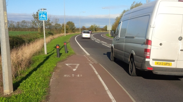 ...but exiting the roundabout onto the A16 (bad!). And just when you need it most, the cycle path  just disappears!